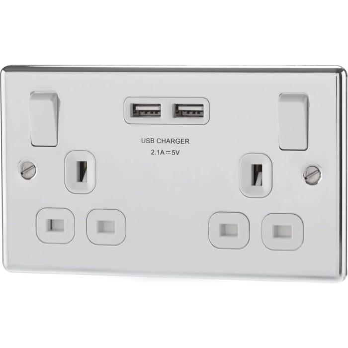 British General Double USB Socket Chrome 2.1A