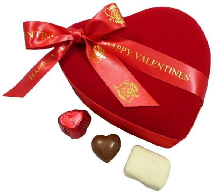 Luxury Valentines Belgian Chocolates, Velvet Heart Gift Box (FREE DELIVERY)