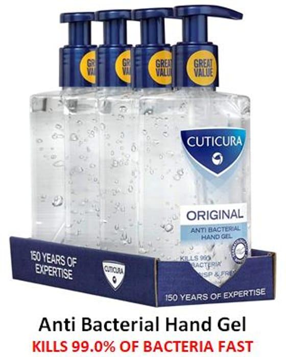 Cuticura Anti Bacterial Hand Gel, 4 Pack - KILLS 99.0% BACTERIA FAST