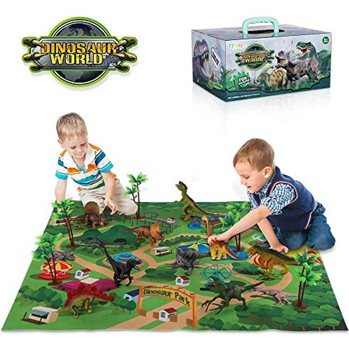 Educational Realistic Dinosaur Playset with Activity Play Mat