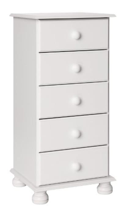 Furniture to Go Copenhagen 5-Drawer Narrow Chest, 90 X 44 X 39 Cm, White