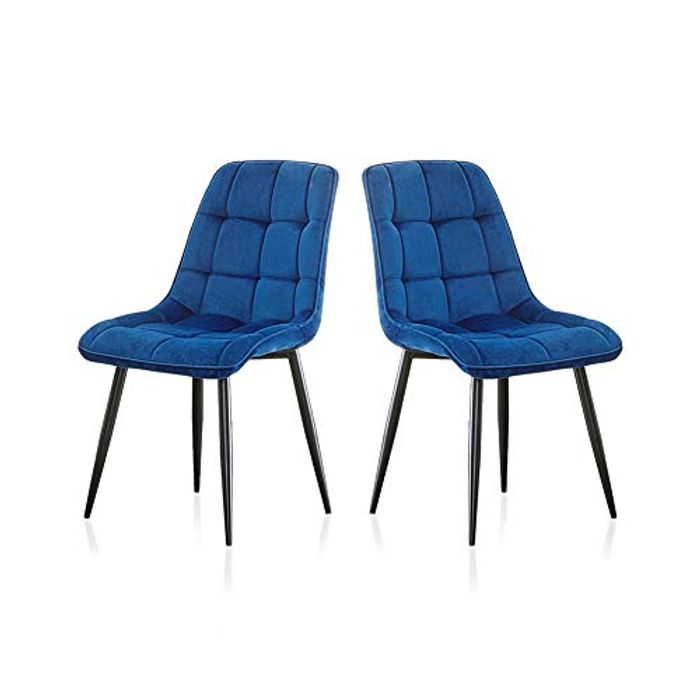 Best Price! 2PCS Blue Velvet Dining Chairs at Amazon