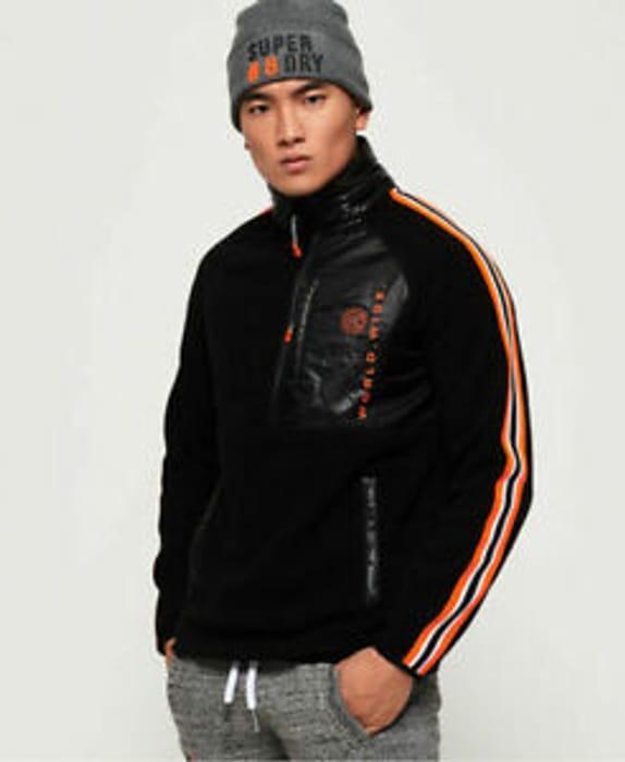 Best Price! New Mens Superdry Mountain Polar Fleece Half Zip Jacket Black