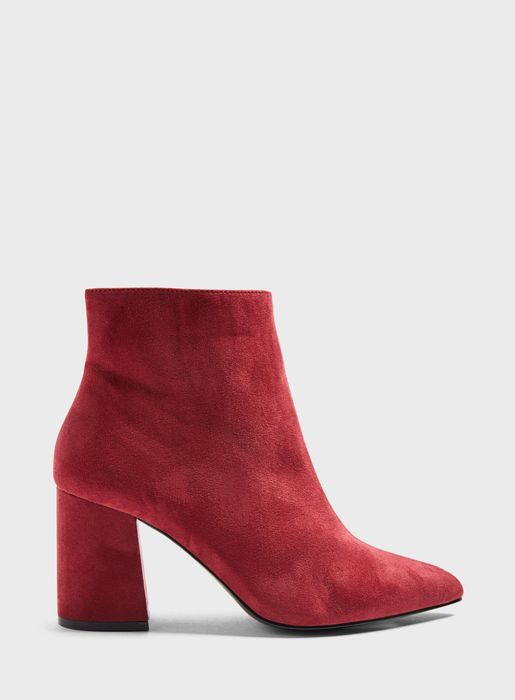 WIDE FIT ABIT Burgundy Pointed Ankle Boots