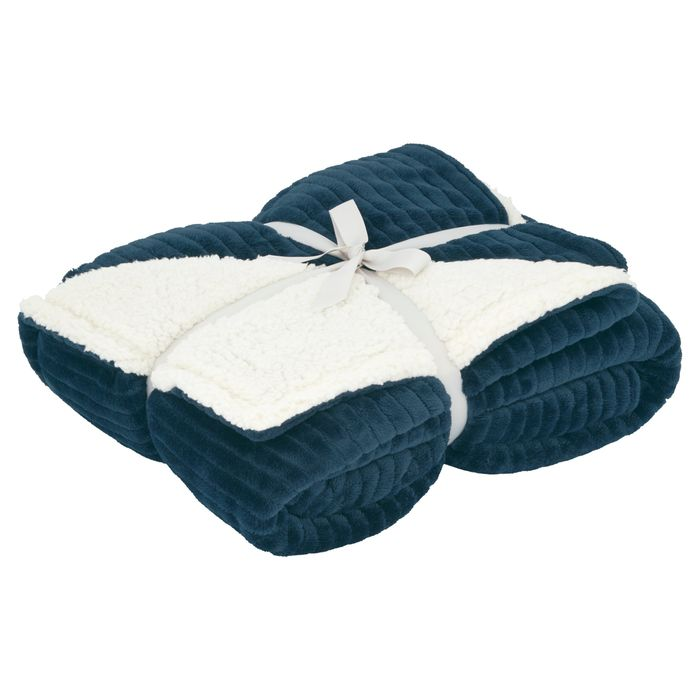 Cheap Tesco Ribbed Sherpa Throw In Navy Or Silver *HALF PRICE NOW ONLY £10
