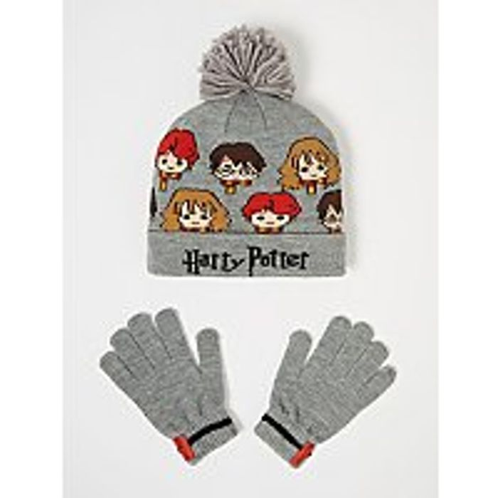 Harry Potter Grey Bobble Hat and Gloves Set Only £4