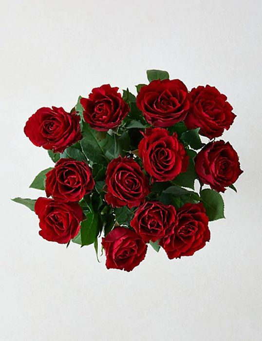 Valentines Dozen Red Roses with Prosecco