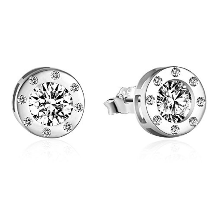 925 Sterling Silver round Brilliant Cut Cubic Zirconia Screw round Stud Earrings