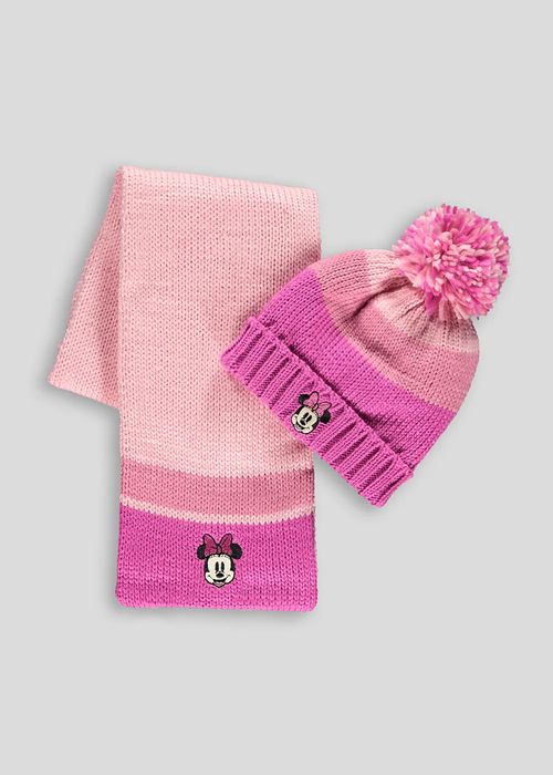 Pink Minnie Mouse Hat and Scarf Set (3-6yrs)