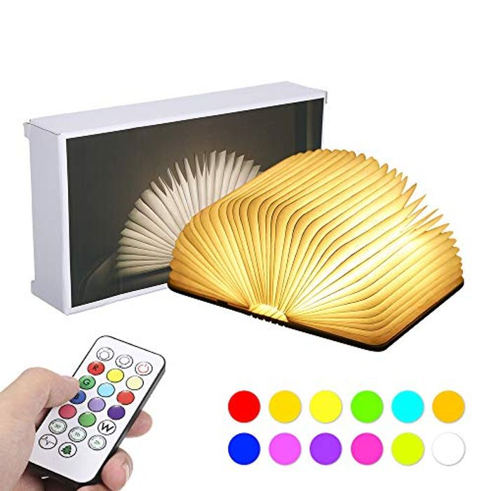 Led Book Lamp Wooden Folding Book Light with Remote Control USB Rechargeable