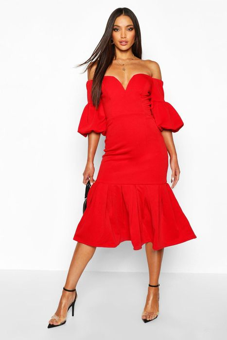 Plunge Puff Sleeve Frill Hem Midi Dress