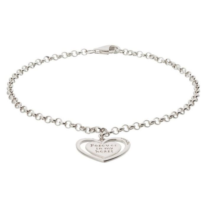 Moon & Back Silver 'Forever in My Heart' Charm Bracelet