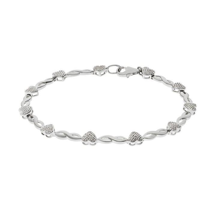 Revere Silver Diamond Accent Hearts & Kisses Bracelet224/2787