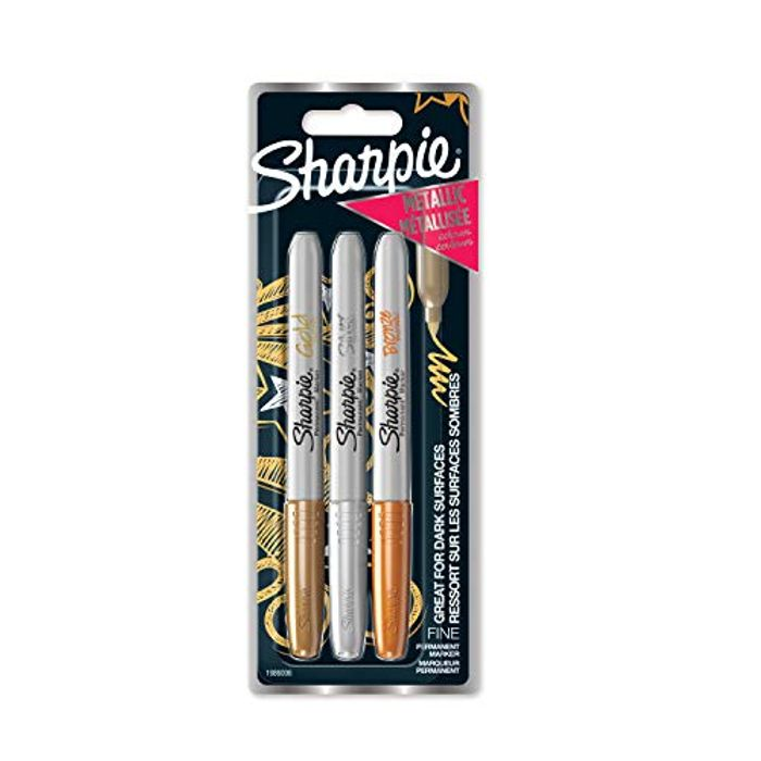 Sharpie Permanent Markers, Fine Tip, Assorted Metallic Colours, Pack of 3