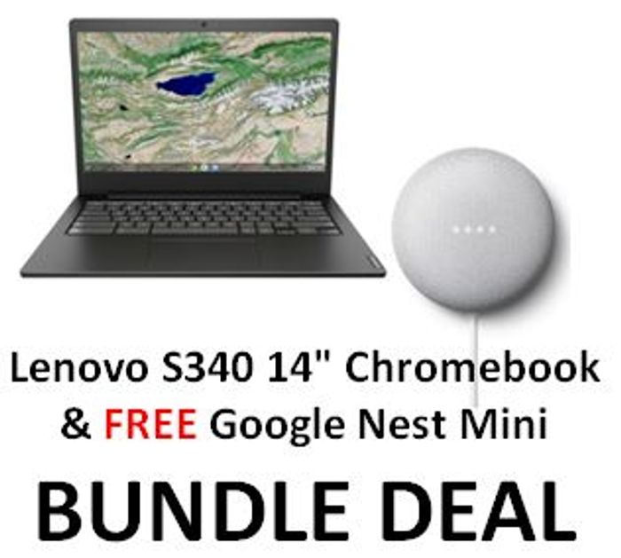 CURRYS BUNDLE DEAL - Lenovo S340 Chromebook & FREE Google Nest Mini