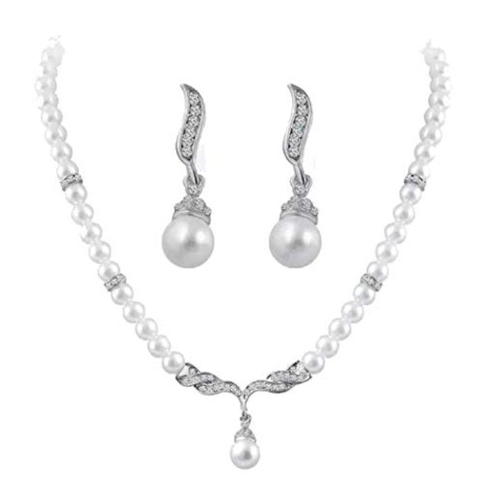 Crystals Angel Wings Pearl Beads Necklaces and Earrings