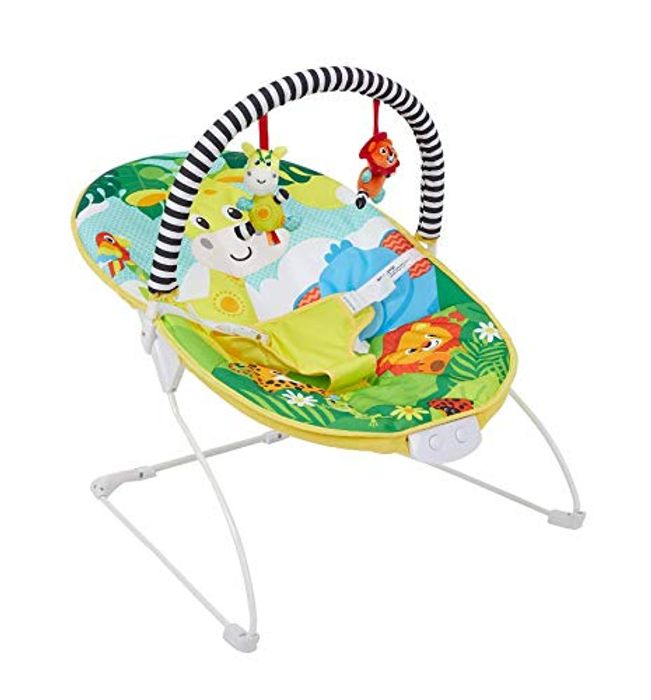 Baby Bright Colourful Safari Bouncer with Soothing Music Vibration and Toys