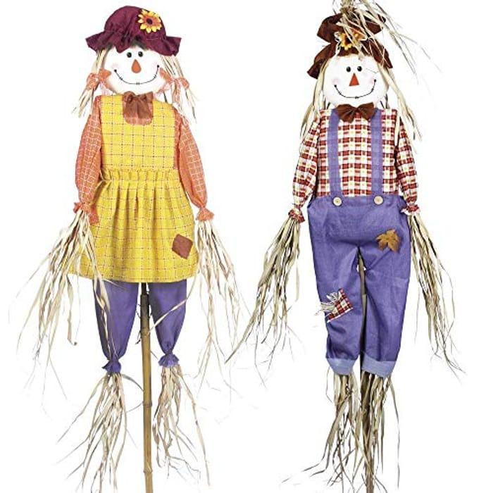 Scarecrows Garden Ornament Bird Deterrent Twin Pack (6ft Scarecrow Twin Pack)