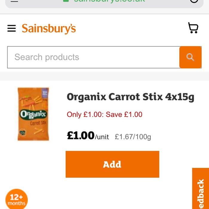 Organix Carrot Stix Baked Corn Snack Coated with Carrot and Coriander