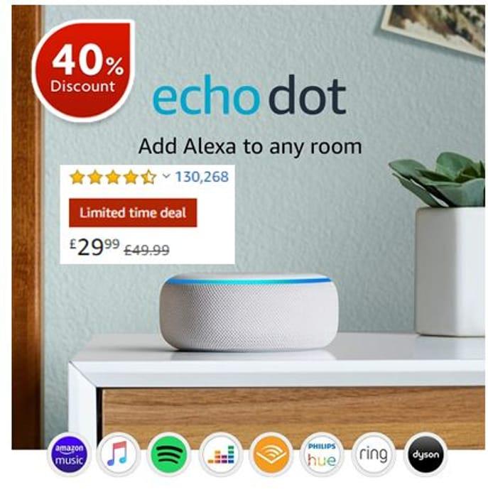 SAVE £20 - Echo Dot (3rd Gen) - Smart Speaker with Alexa - Sandstone Fabric