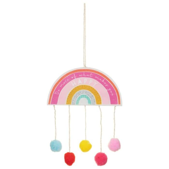 Rainbow Hanging Plaque - Happy