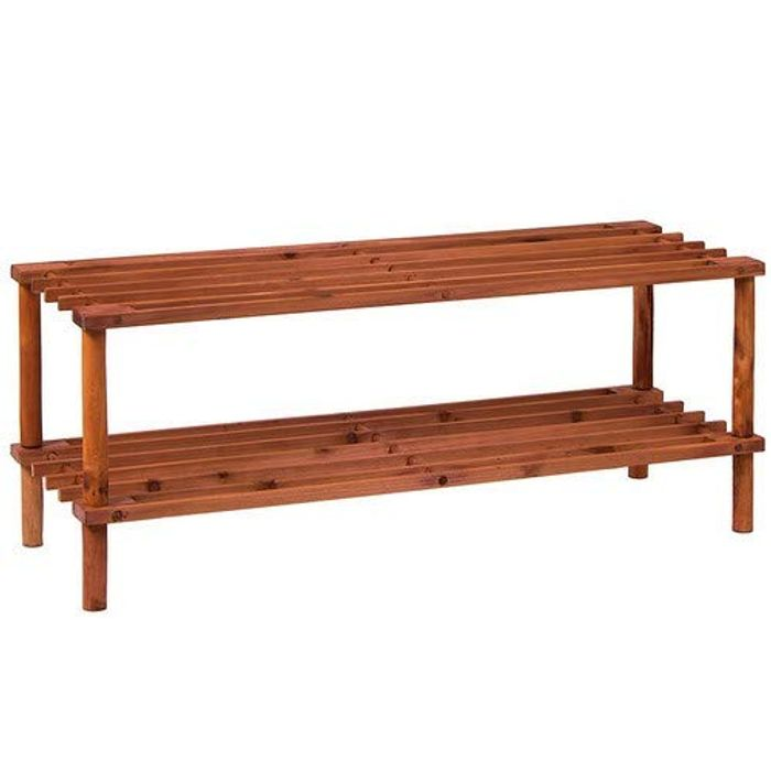 Home Vida 2 Tier Slated Wood Storage Organiser Shoe Stand Rack, Walnut