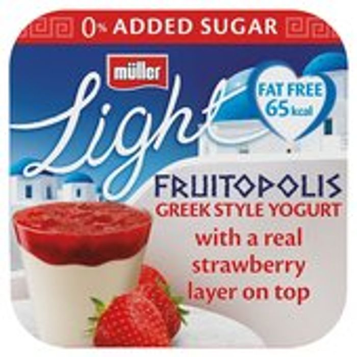 Muller Light Fruitopolis Greek Style Strawberry Yogurt 4 X 130g