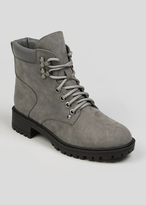 Grey Lace up Ankle Boots - HALF PRICE