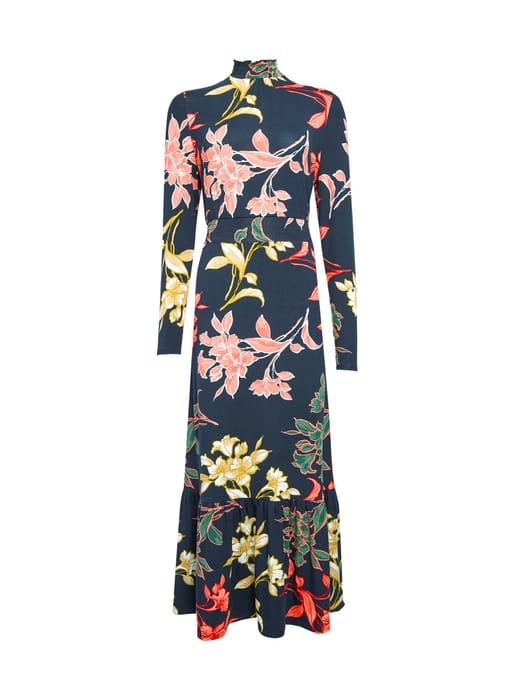Navy Floral Print Tiered Midi Dress