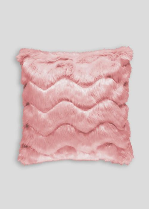 Carved Wave Faux Fur Cushion, Half Price!
