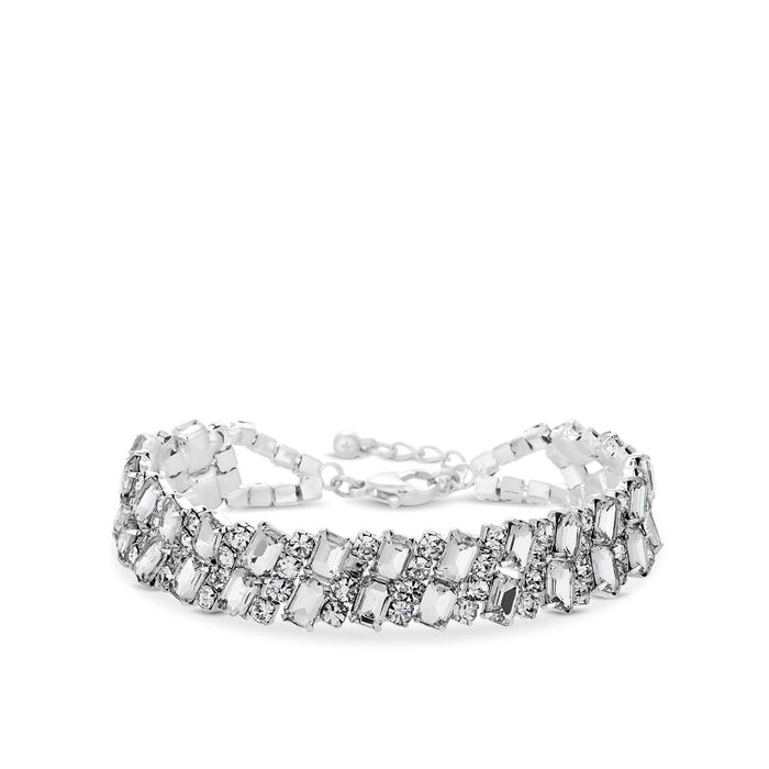 Jon Richard - Silver Plated Crystal Square Cut Diamante Bracelet