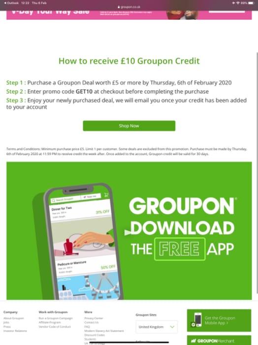Free 10 Pound Groupon Credit