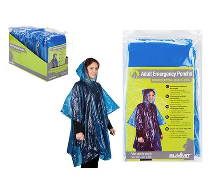 Small Compact Summit Poncho In Pouch *In Pocket For Rain/Festivals/Shopping