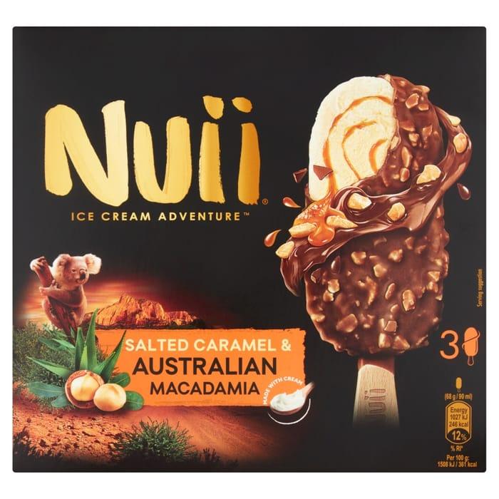 Nuii Salted Caramel & Australian Macadamia Ice Cream Bars 3x90ml