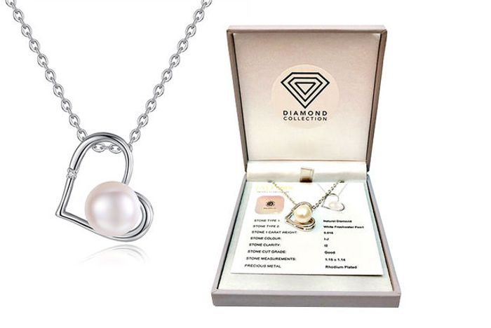 *SAVE £180* Natural Diamond & Freshwater Pearl Pendant