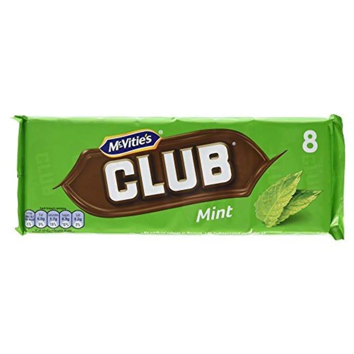 McVitie's Club Mint Flavour Biscuits 8 X 22g (176g)