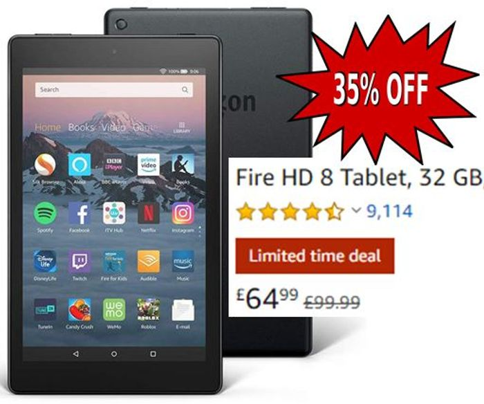 SAVE £35 - Fire HD 8 Tablet, 32 GB, Black / Yellow / Blue / Red