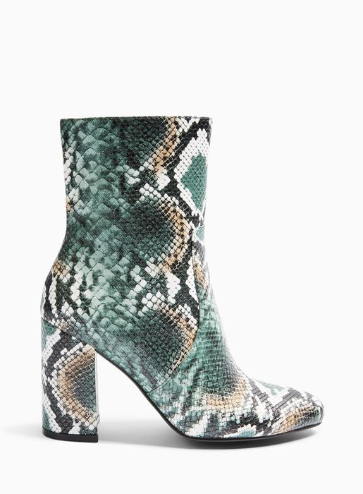 BAMBOO Green Snake High Shaft Ankle Boots