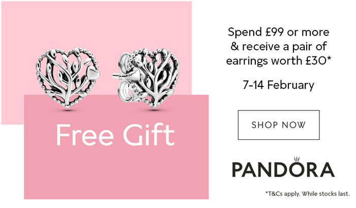Deal Stack - FREE Pandora Earrings WYS £99 Works on 60% off Clearance!