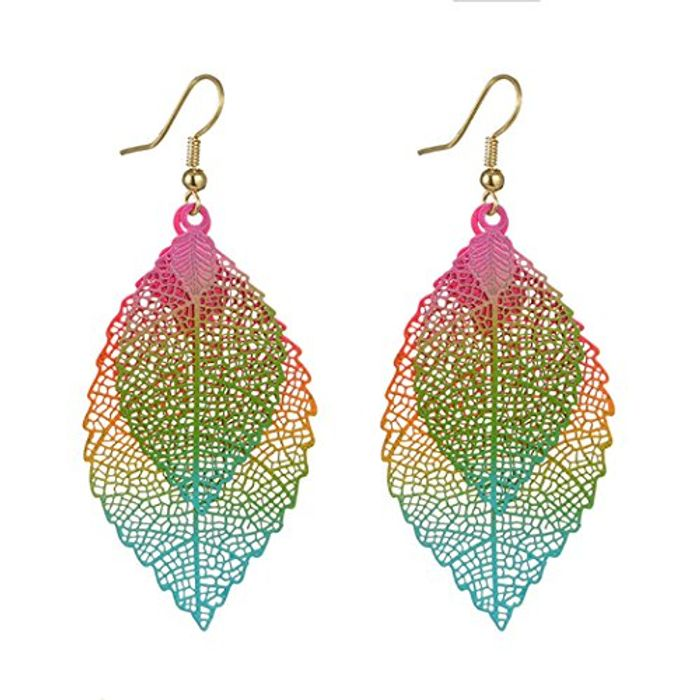 Colorful Bohemian Double Leaf Skeleton Hook Dangle Drop Earrings