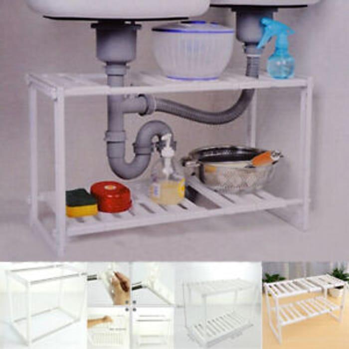 Adjustable Removable under Sink Storage Tidy Shelf Kitchen Rack Organiser Unit