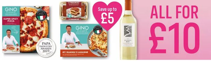 Gino D'Acampo £10 Valentines Meal Deal with Wine!