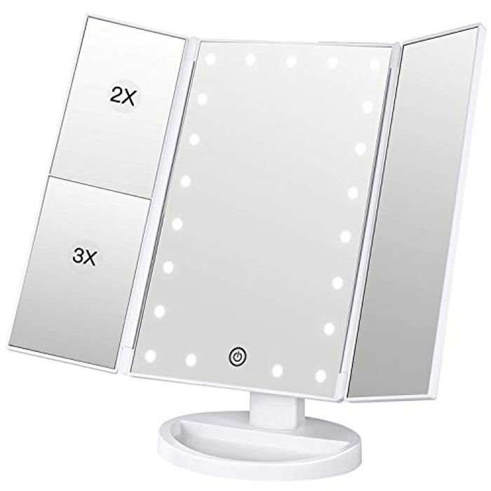 Lighted Makeup Mirror 2X/3X Magnification Vanity Mirror Tri-Fold Ma