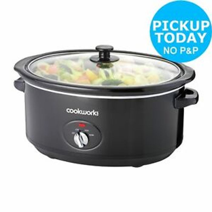 Cookworks 6.5L 320W Slow Cooker - Black.