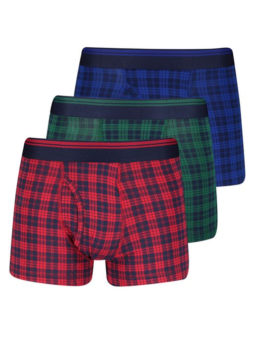 Online Exclusive Multicoloured Tartan Trunks 3 Pack - Medium