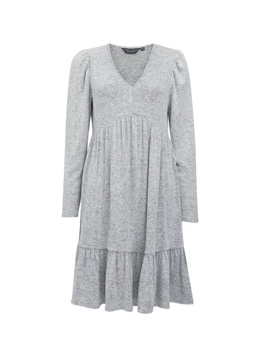 Grey V-Neck Tiered Smock Dress