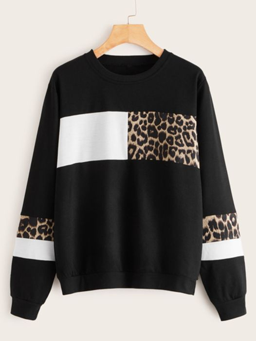 Leopard Colour-Block Long Sleeve Sweatshirt