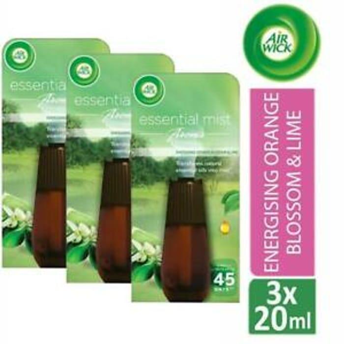 3 X Air Wick Essential Mist Aroma Air Freshener Refill Orange & Lime 20ml