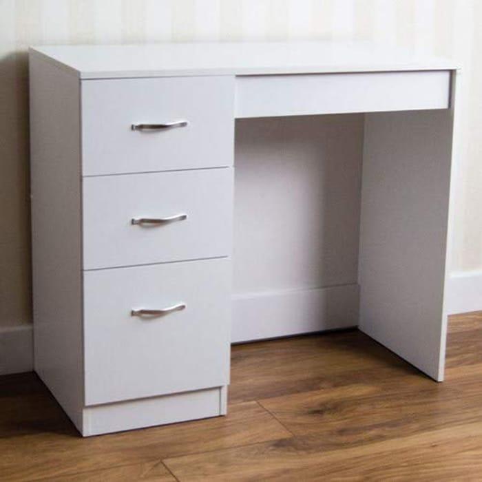 White 3 Drawer Dressing Table/Desk