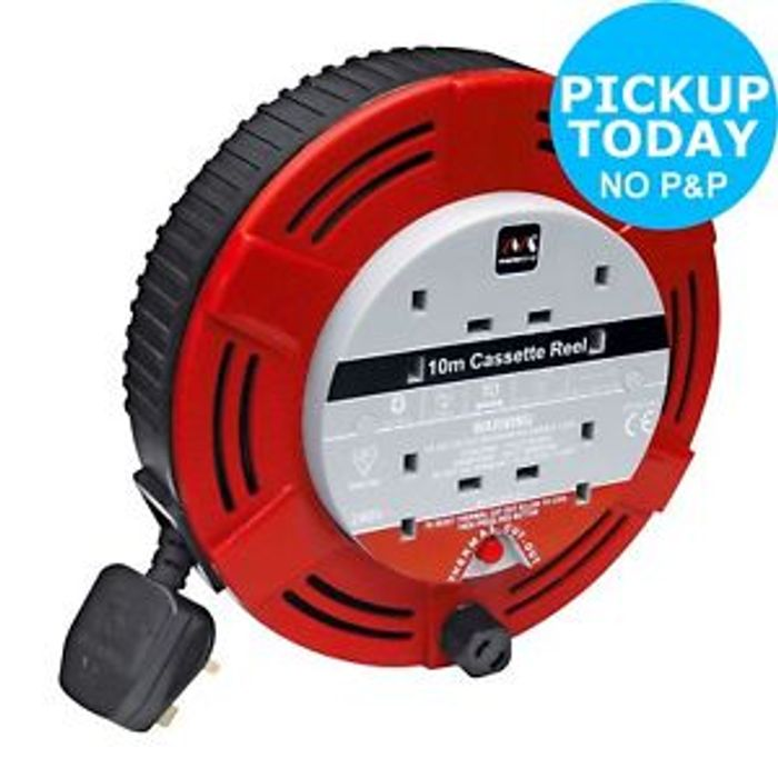 Masterplug 4 Socket Safety Cut out Cable Reel - 10M